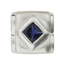 925 Silber Anh�nger Blue Square blaue Zirkonia